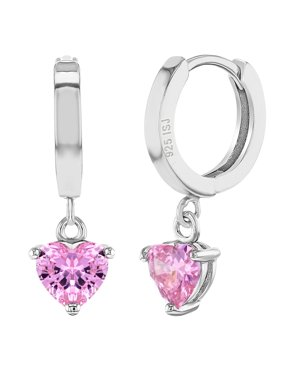 938ae3bf9 Product Image 925 Sterling Silver Small Hoop Heart Dangle Earrings Purple  CZ for Girls Teens. In Season Jewelry