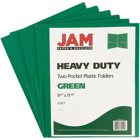 JAM Paper Heavy Duty Plastic Two Pocket Presentation Folders, Green, 6/pack