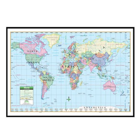 - Universal Map World Primary Mounted Framed Wall Map