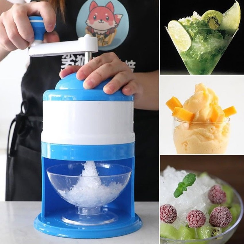 Ice Crusher Shaver Manual Hand Crank Ice Grinder for Fine or Coarse Pieces, Home Ice Shaver with Stainless Steel Blades