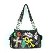 Accessories Plus PE-893 BK Handbag with Cross, Peace & Paisley Design, Black