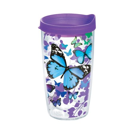 Tervis 1137325 Drinking Glass, Tritan, Blue Endless Butterfly, 16 Oz - 16 Oz Drinking Glasses