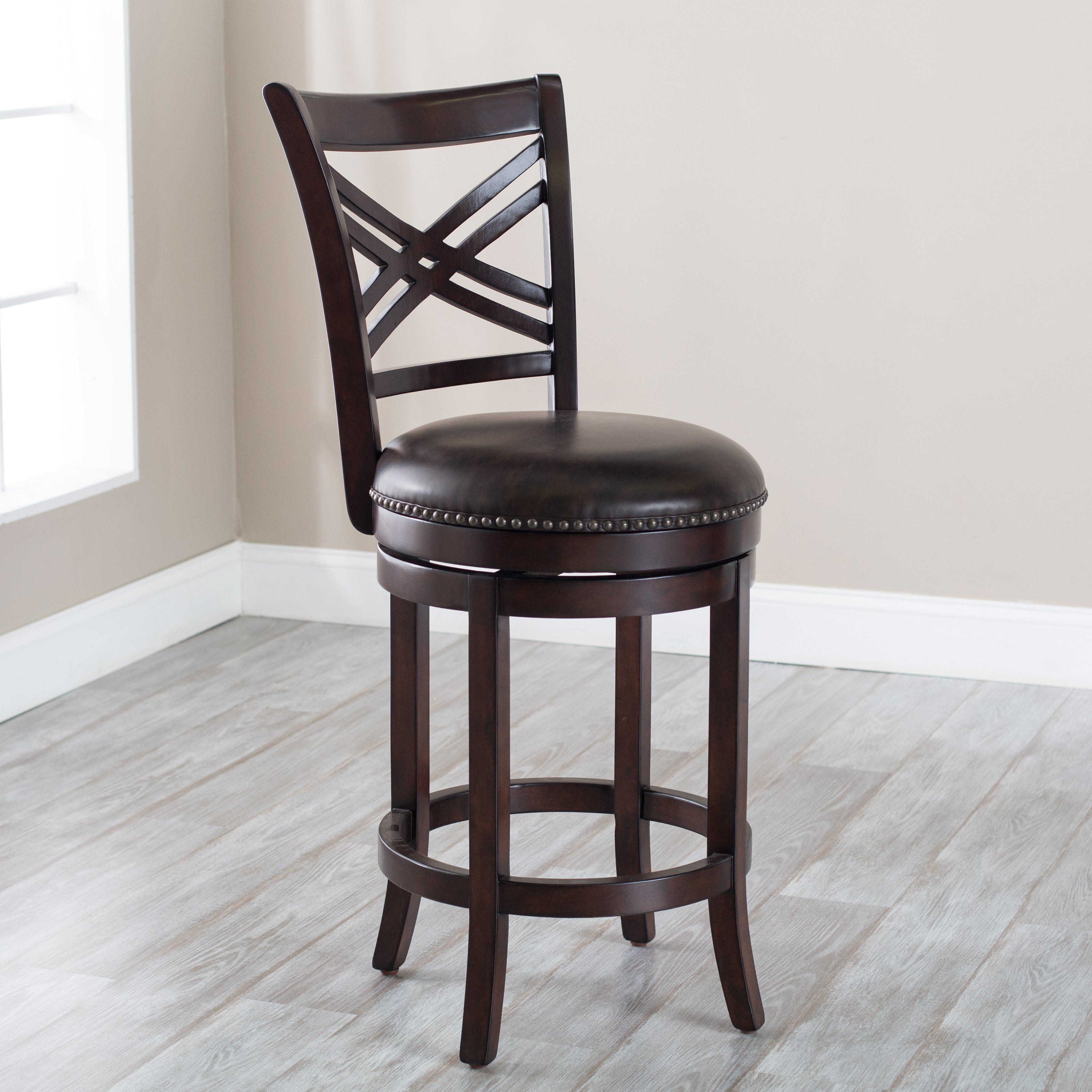 Belham Living Landon Swivel Counter Stool with Nailheads