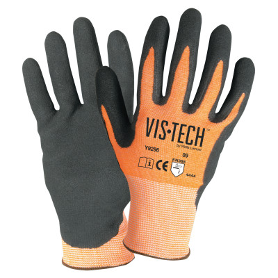 Vis-Tech Cut-Resistant Gloves with Nitrile Coated Palm, 2x-Large, Orange/Black