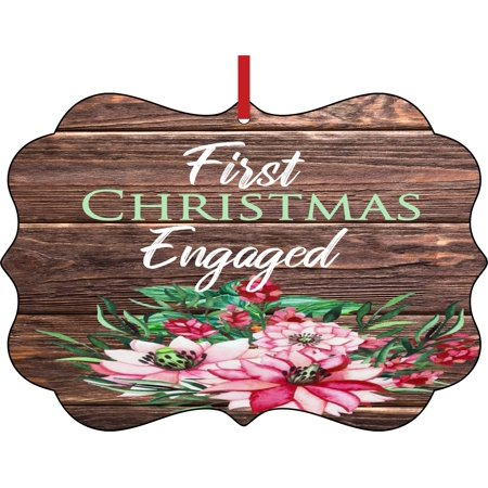 Ornaments Engagement First Christmas Engaged 1st Double Sided Elegant Aluminum Glossy Christmas Ornament Tree Decoration Unique Modern Novelty Tree