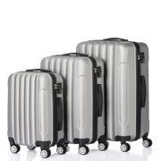 3PCS Travel Luggage Set Bag ABS Trolley Hard Shell Suitcase Silver Gray