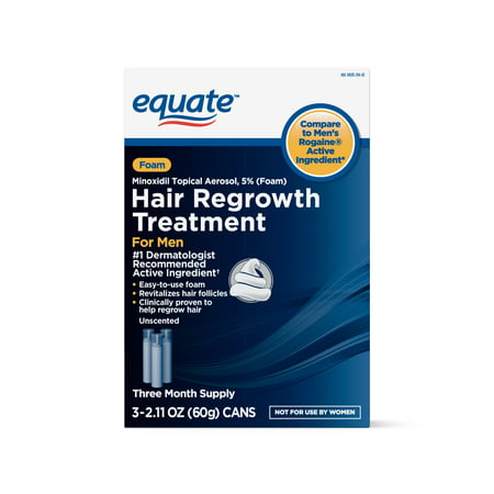 Equate Men's Minoxidil Foam for Hair Regrowth, 3-Month