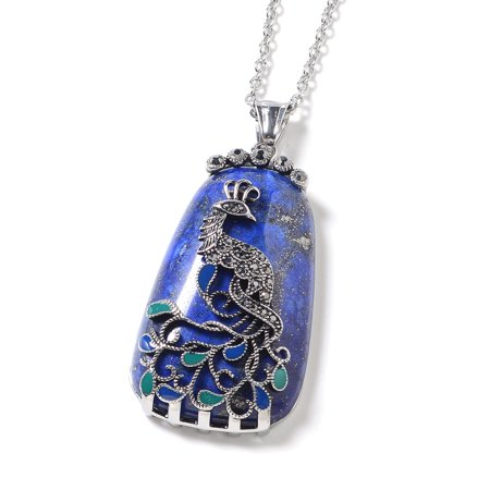 Steel Lapis Lazuli Marcasite Enameled Chain Pendant Necklace Size 20