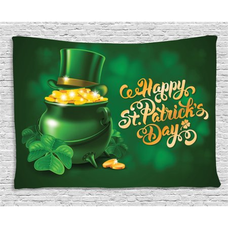 - St. Patrick's Day Tapestry, Large Pot of Gold Leprechaun Hat and Shamrocks Greetings 17th March, Wall Hanging for Bedroom Living Room Dorm Decor, 60W X 40L Inches, Gold and Emerald, by Ambesonne