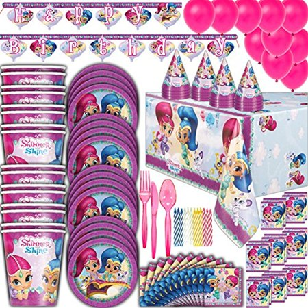Shimmer and Shine Birthday Party Supplies - 16 Guest - Plates, Cups, Napkins, Tablecloth, Cutlery, Balloons, Banner, Loot Bags, Birthday Hats, Candles - Full Genie Theme Decorations and Party Set.