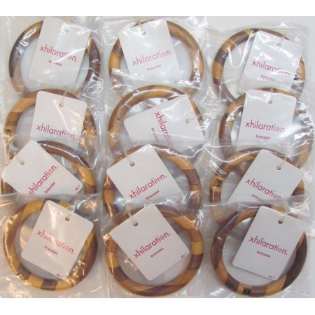 Wholesale Jewelry Lot of 12 XHILARATION Bangle Bracelets Wood Wooden $84 Total Value