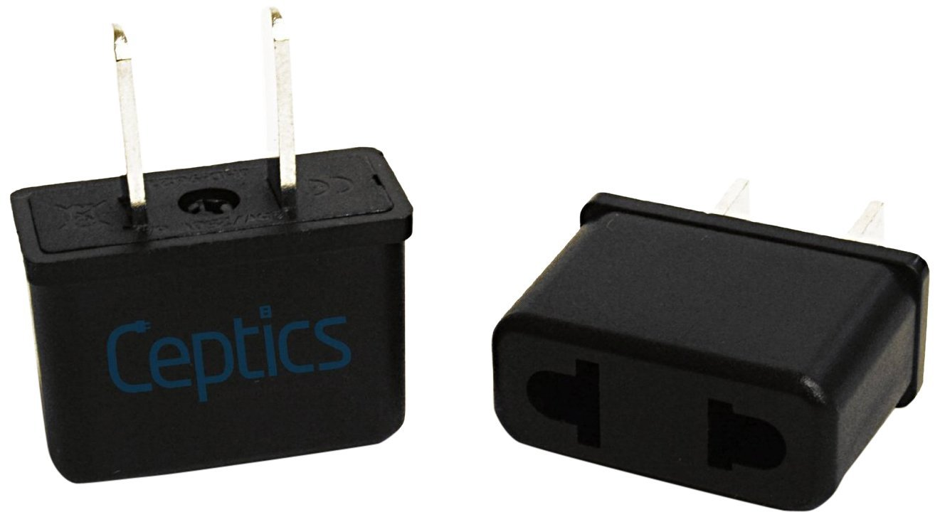 Ceptics Plug Adapter For Use In Europe and Asia to USA Pack of 6