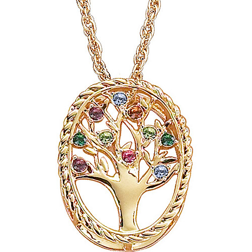 Personalized 14kt Gold-Plated Family Tree Birthstone Necklace