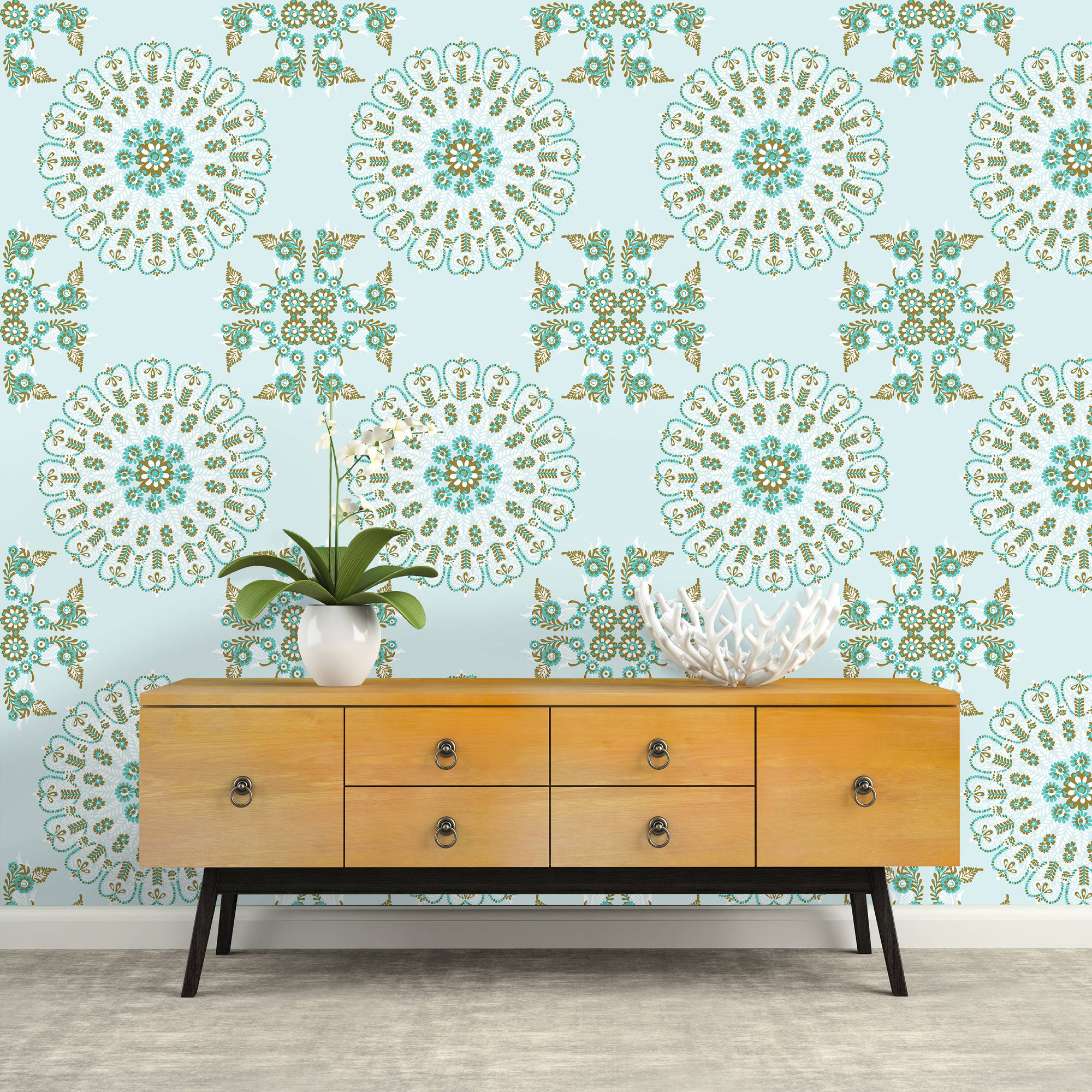 Repeel Removable Wallpaper, Medallion, Turquoise & Gold