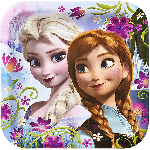 "Frozen 9"" Square Plates, 8 Count, Party Supplies"