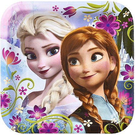 Frozen Party Paper Square Plates, 9 in, 8ct