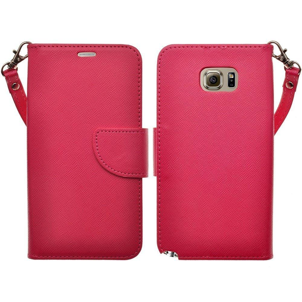 Galaxy S6 Edge Plus Case, Slim Folio [Kickstand] Pu Leather Wallet Case with ID&Credit Card Slot Phone Case for Samsung Galaxy S6 Edge Plus - Hot Pink