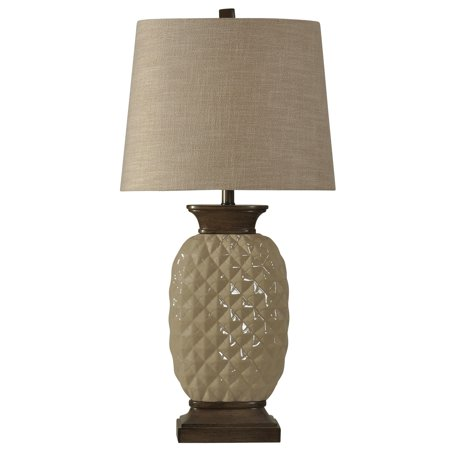 Dazzle Ceramic Table Lamp - Dark Wood And Off-White Finish - Natural Linen Hardback Fabric Shade