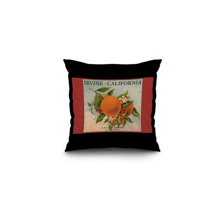 Irvine, California - Fruit Company Orange Label - Citrus Crate Label (16x16 Spun Polyester Pillow, Black Border)