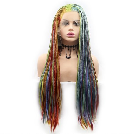 Beroyal Hair Micro Braided Lace Frontal Wig Fully Hand Tied Synthetic Heat Resistant Hair Wigs Mixed Color Free Part Million Twist Wig, 24