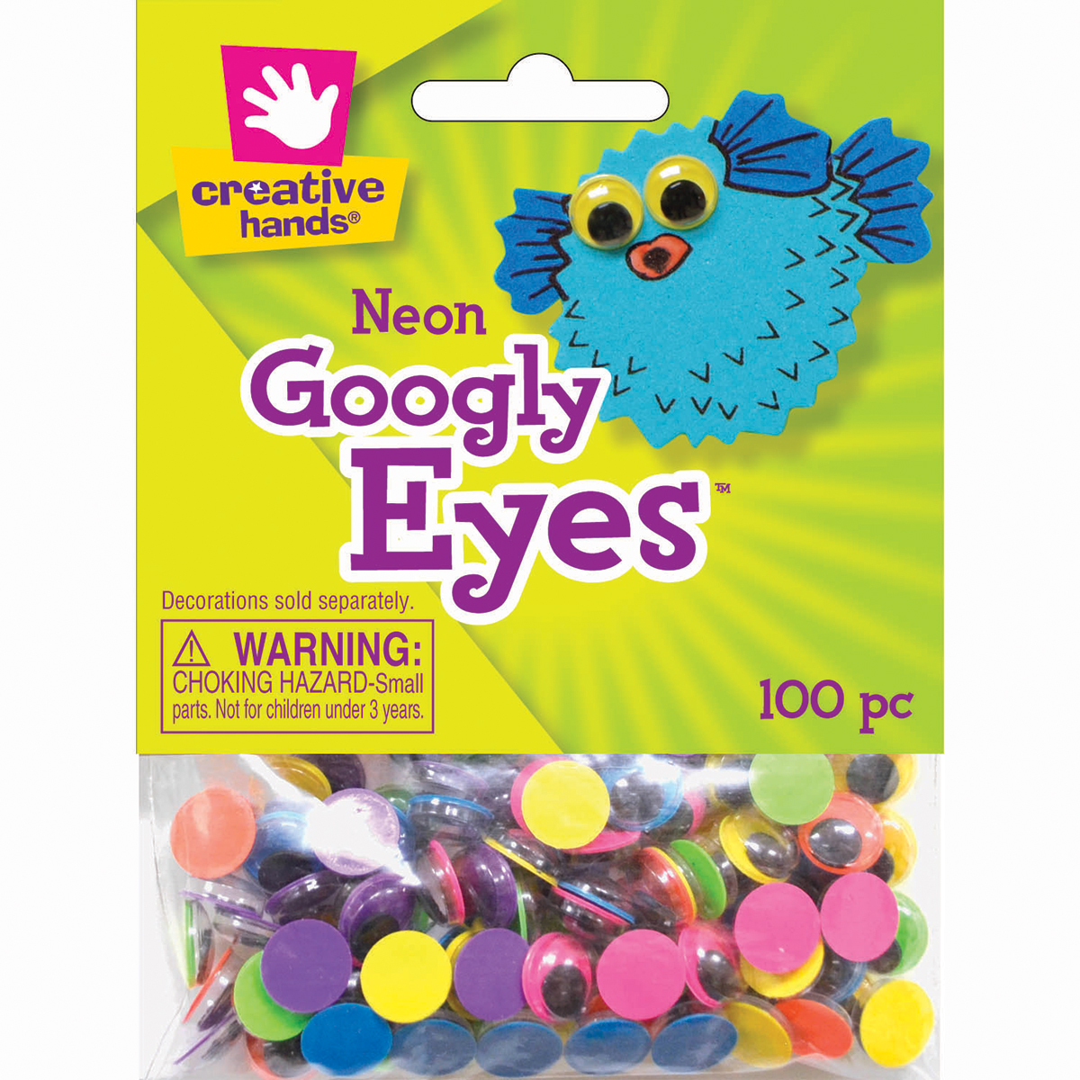 Googly Eyes 10mm 100/Pkg-Neon