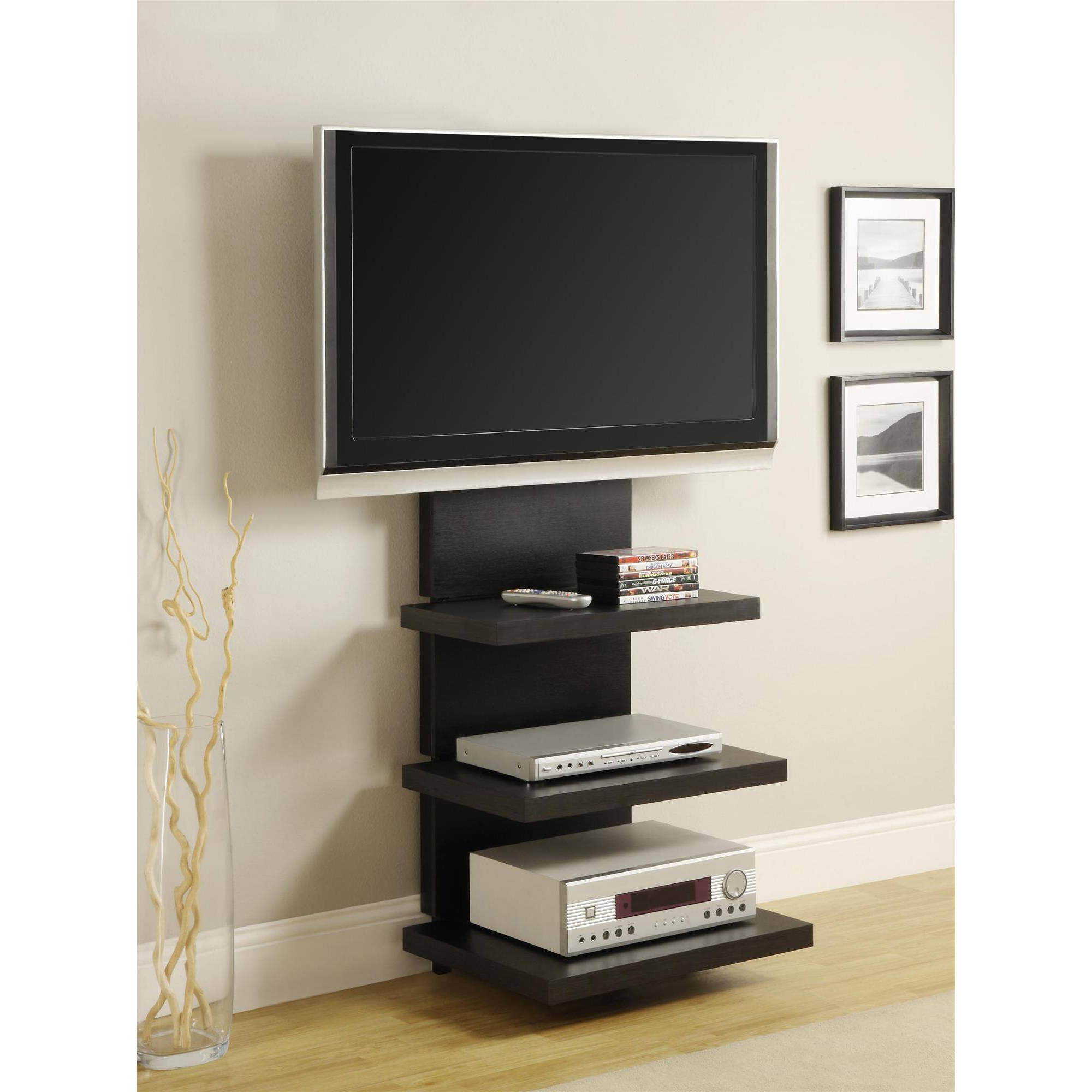 Wall Mount TV Stand with 3 Shelves, Black, for TVs up to 60""