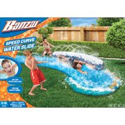BANZAI Speed Surf Curve Summer Water Wave Slide for Kids - Slippery Slide  - Outdoor Backyard Water Toys