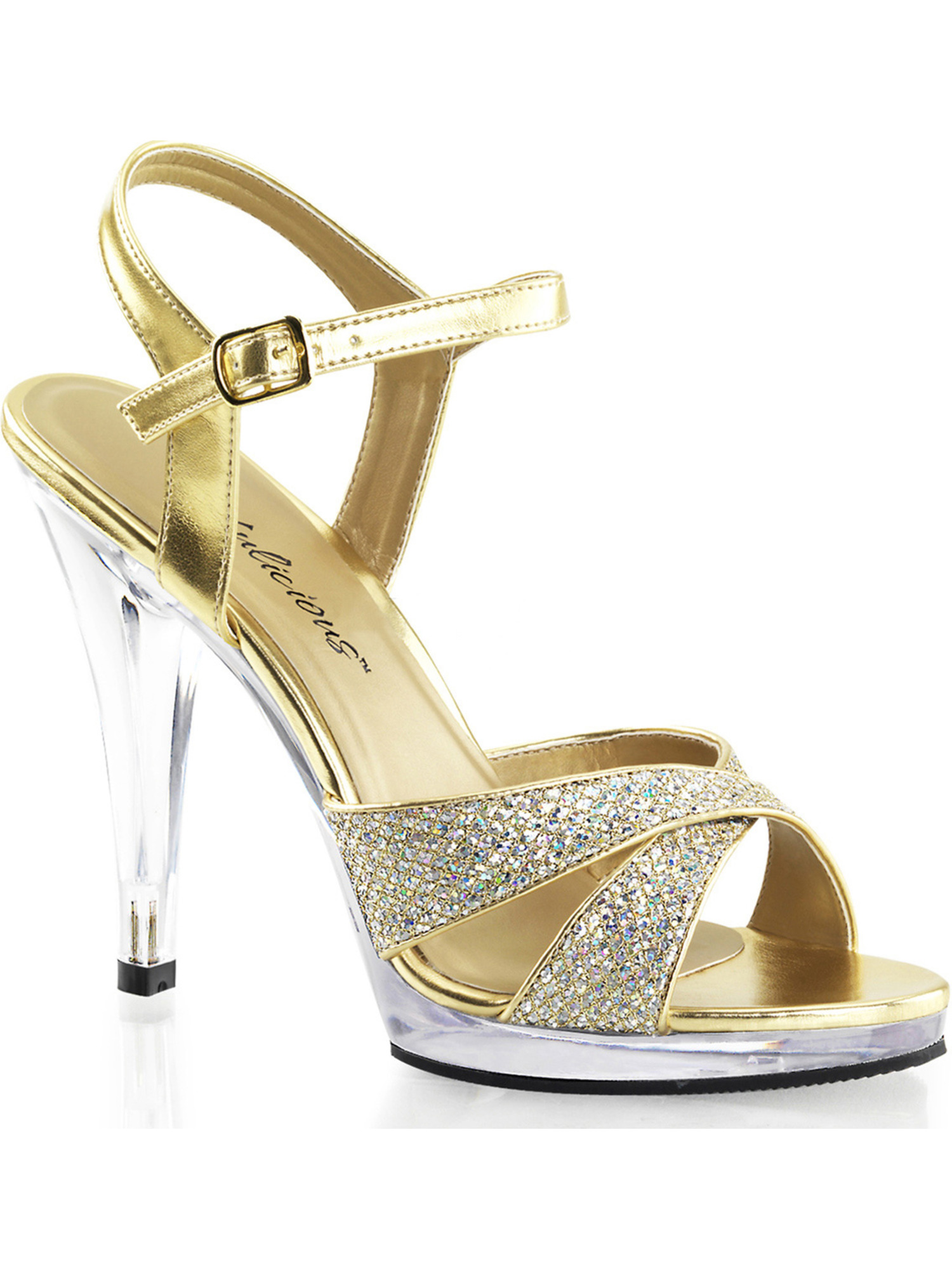 Womens Sparkling Gold Glitter Sandals 4.5 Inch High Heel Strappy Dress Shoes