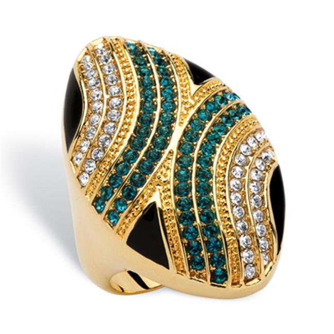 PalmBeach Jewelry 545816 Oval Mod Geometric Cocktail Ring in 14k Gold-Plated - Size 6
