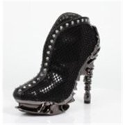 Hades Shoes H-Vesper Ankle Boot sexy and curvy bootie with shiny reptile print Black / 7