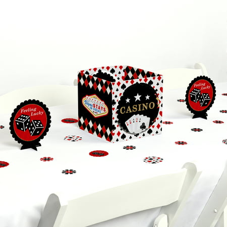 Las Vegas - Casino Party Centerpiece & Table Decoration - Black And White Table Centerpiece Ideas