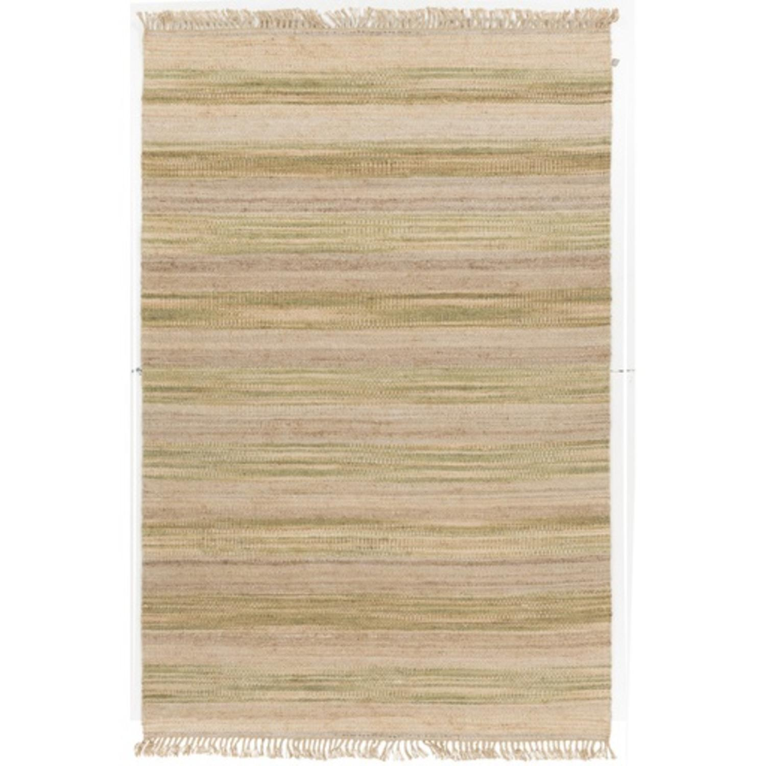 5' x 8'  Picket Fences Almond Beige and Olive Green Hand ...