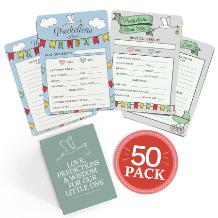 Baby Shower Advice + Prediction Cards (50 Pack). Keepsake & - Baby Advice Cards