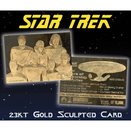 STAR TREK NEXT GENERATION Senior Officers Starship 23KT Gold Card (Star Trek The Next Generation Trading Cards)