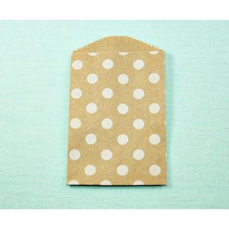 30 White Polka Dot on Kraft Little Bitty Bags 2.75 x 4 inches