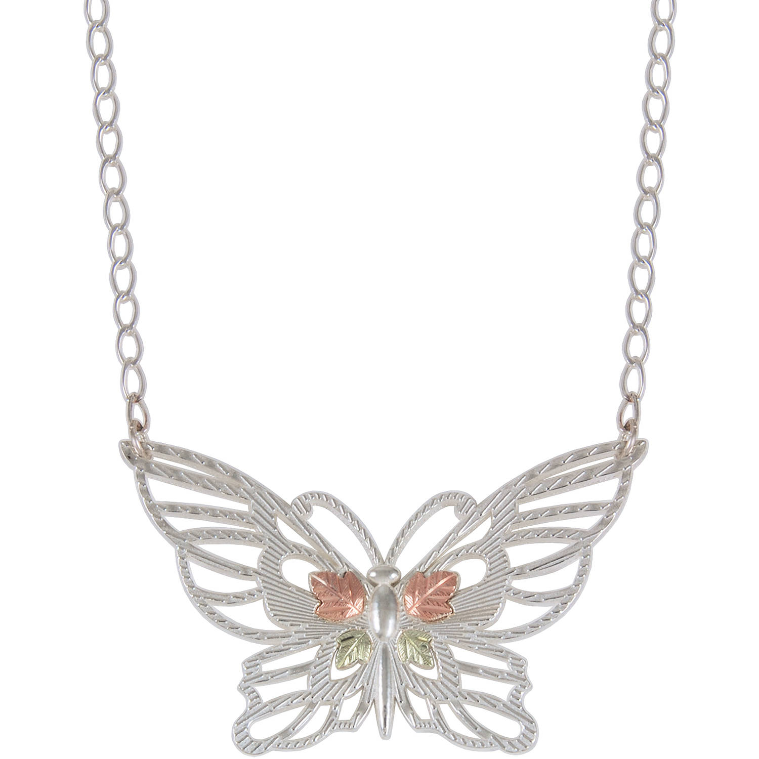 Black Hills Gold Sterling Silver 12kt Gold Leaf Accented Butterfly Necklace, 17.5""