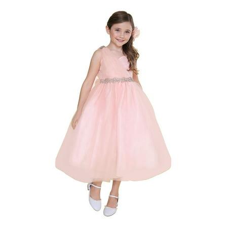 S Blush Pink Tulle One Shoulder Adorned Waist Junior Bridesmaid Dress