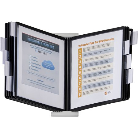 Durable InstaView Expandable Desktop Reference System with Black Borders, 10 Panels