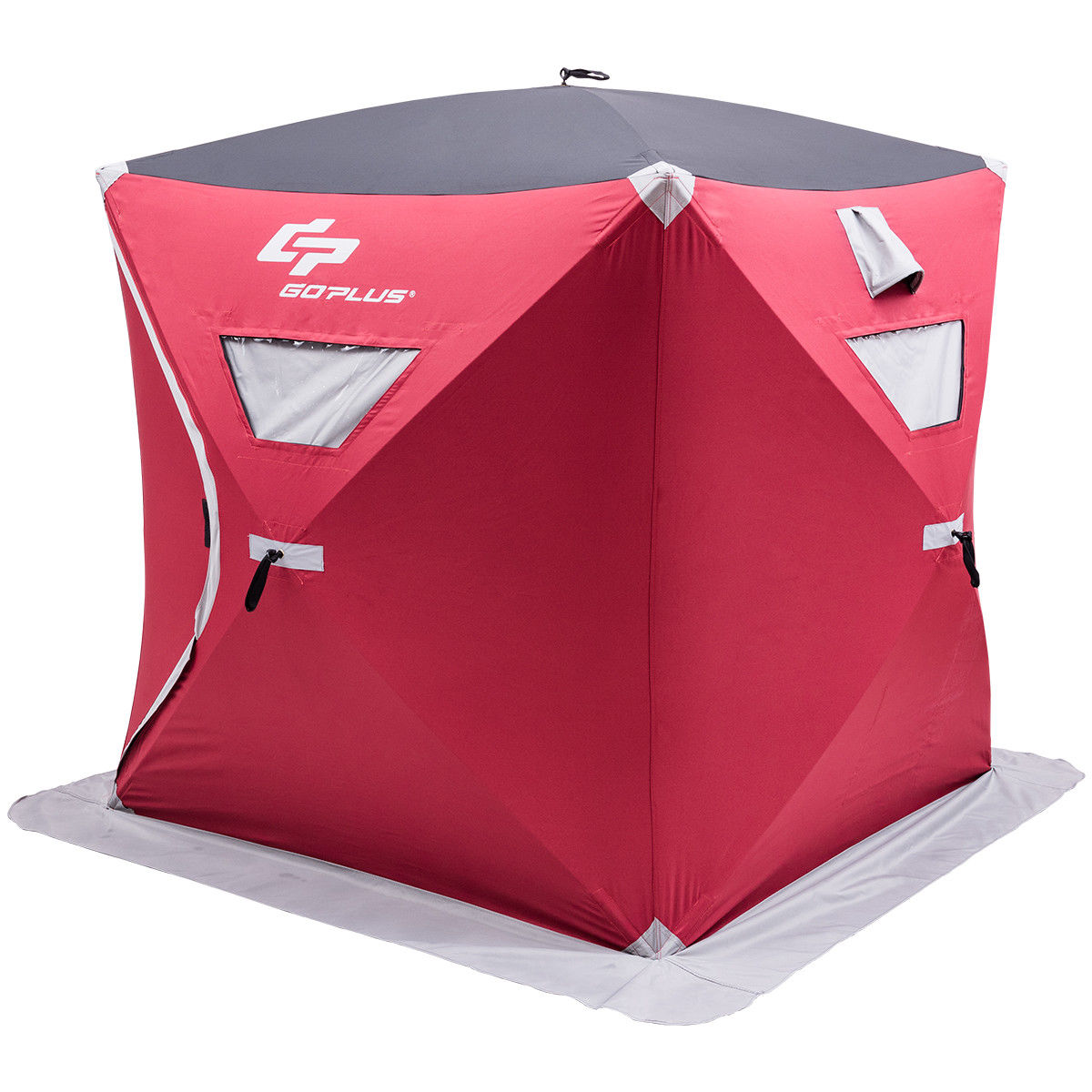 Goplus Portable Pop-up 3-person Ice Shelter Fishing Tent Shanty w  Bag Ice Anchors Red by Ice Shantys
