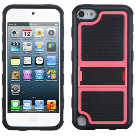 Apple iPod touch 5 MyBat Gummy Skin Cover with Armor Stand Hot Pink