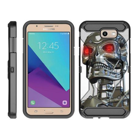 TurtleArmor ® | For Samsung Galaxy J7 | J7 V | J7 Prime | J7 Sky Pro [Full Body Protection] Hybrid Kickstand Rugged Cover Holster Belt Clip Case - Terminator Robot](Galaxy Morphsuit)