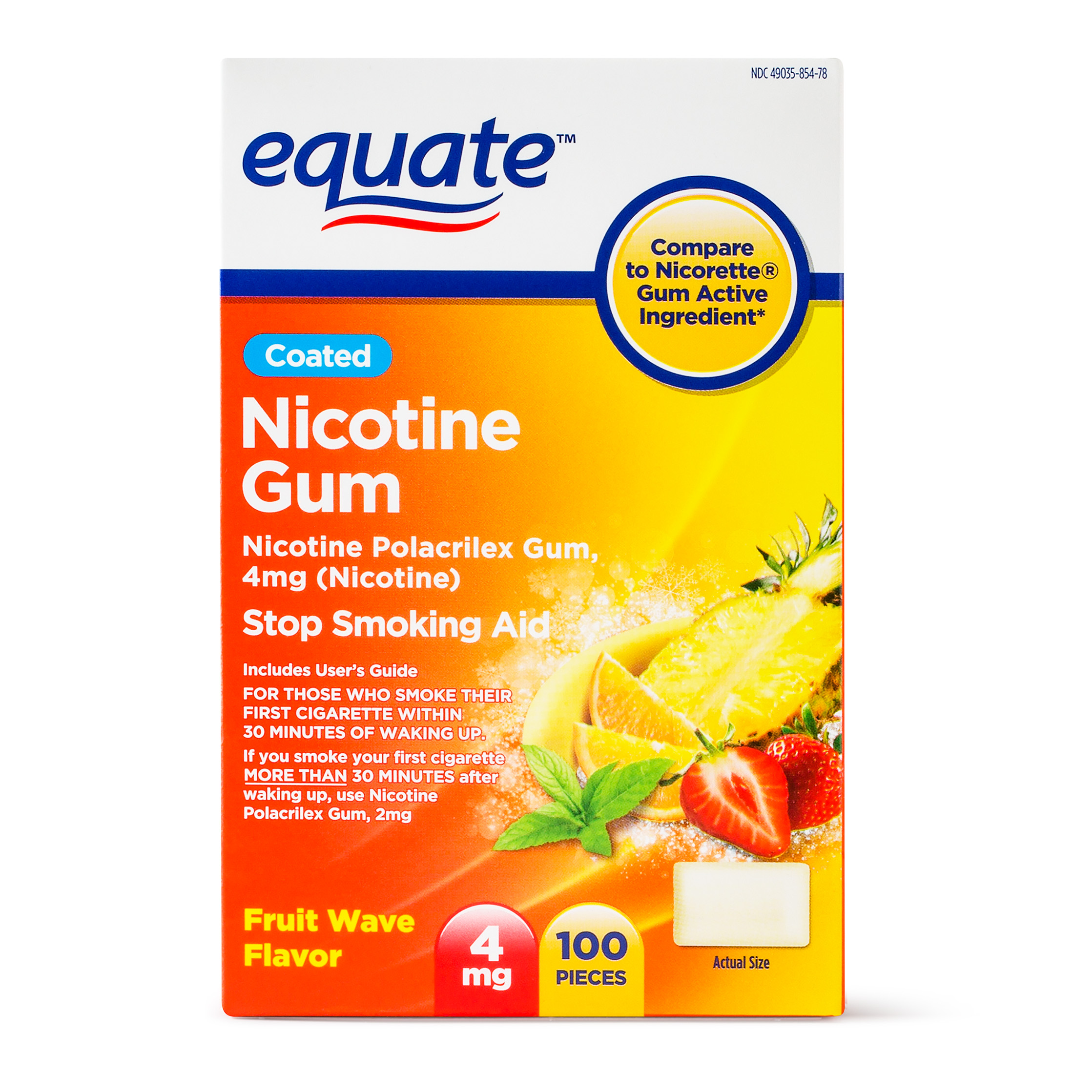 Equate Coated Nicotine Gum, Fruit Wave Flavor, 4 mg, 100 Count