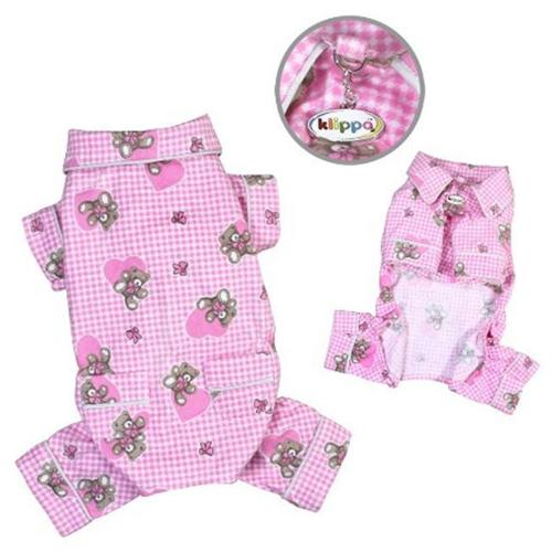 Klippo Pet KBD065MZ Adorable Teddy Bear Love Flannel Pajamas, Pink - Medium