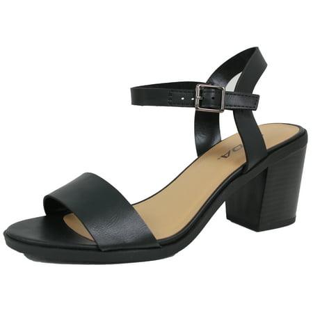 0c8964d8f45 Soda - City Classified Women s Open Toe Ankle Strap Chunky Stacked Block  Heel (Black