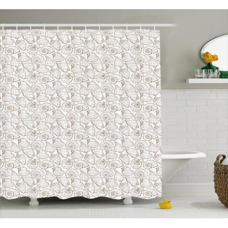 Shells Shower Curtain Detailed Linear Style Hand Drawn Sketched And Hatched Swirl Shell Figures