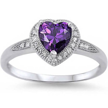 DTLA Halo Style Heart Cut Created Amethyst Promise Ring .925 Sterling Silver