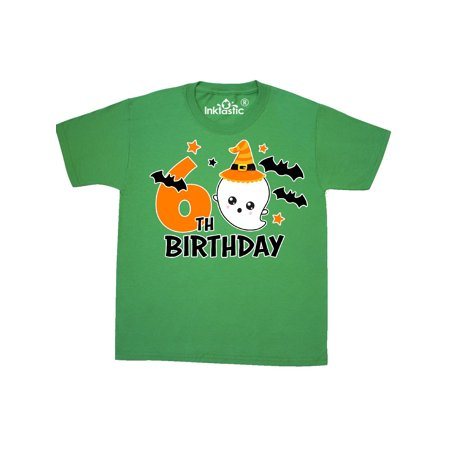 6th Birthday with Ghost and Bats Halloween Youth T-Shirt