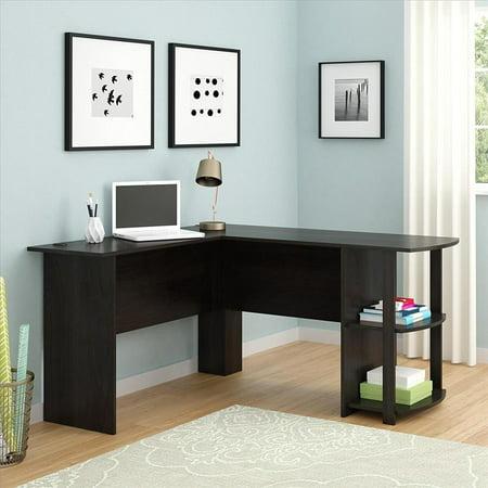 Ktaxon L-Shaped Corner Computer PC Desk Laptop Table Wood Workstation Home Office (Elburn Dark Brown L Shaped Modern Computer Desk)