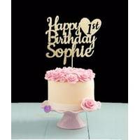 Custom 1st birthday Cake topper with heart