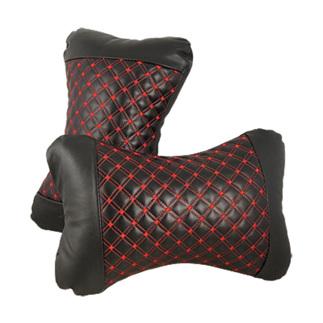 Unique Bargains 2 Pcs Bone Shaped Rhombus Pattern Black Faux Leather Car Neck Pillow